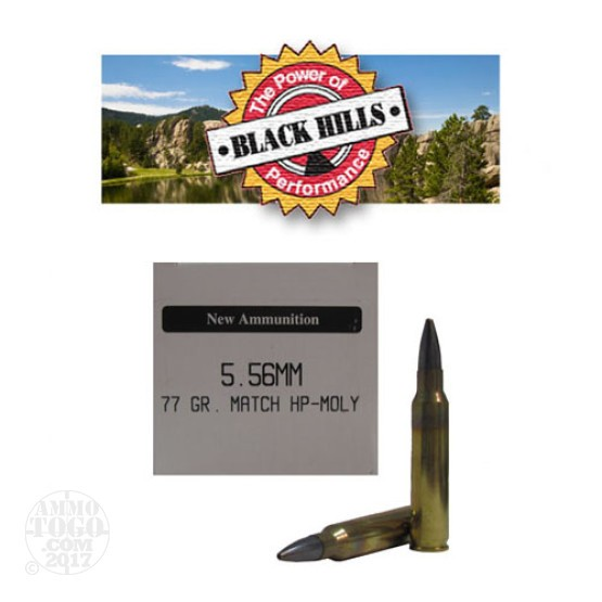 50rds - 5.56 Black Hills 77gr. New Seconds Sierra MatchKing HP Moly Ammo