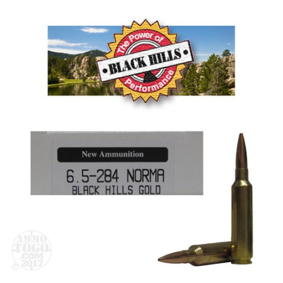 20rds - 6.5mm -.284 Norma Black Hills Gold 142gr. New Seconds BTHP Ammo