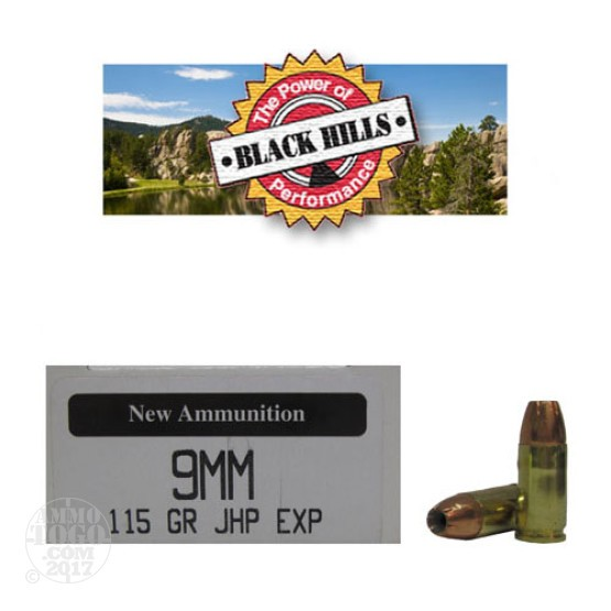 50rds - 9mm Black Hills 115gr. New Seconds JHP EXP (Extra Power) Ammo