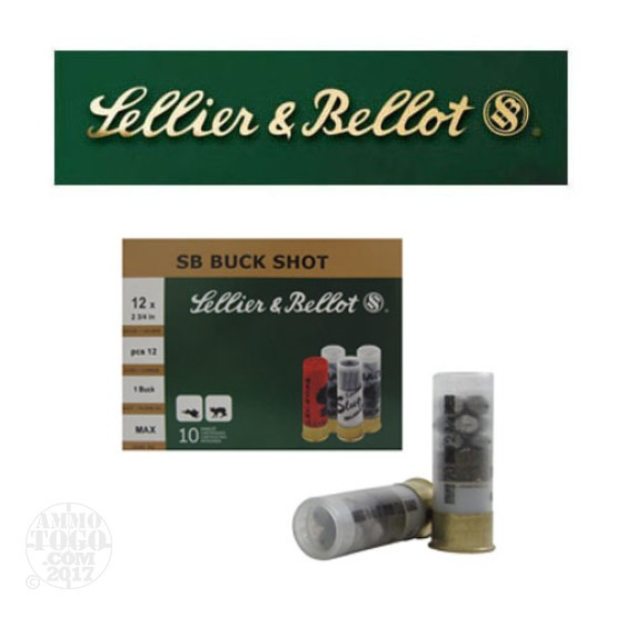 "250rds - 12 Gauge Sellier and Bellot 2 3/4"" 12 Pellet #1 Buckshot Ammo"