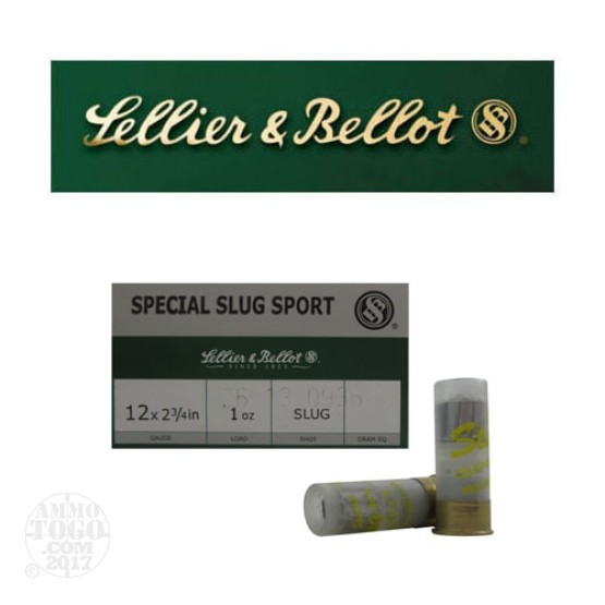 "250rds - 12 Gauge Sellier & Bellot 2 3/4"" 1oz. Slugs"