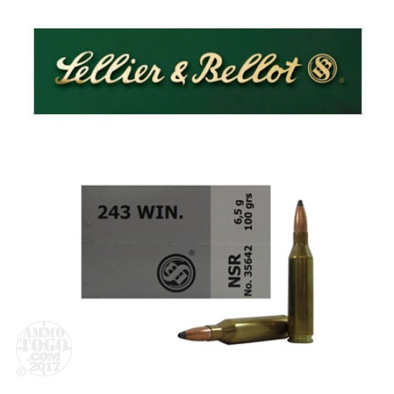 20rds - 243 Win. Sellier and Bellot 100gr. Nosler Partition SP Ammo