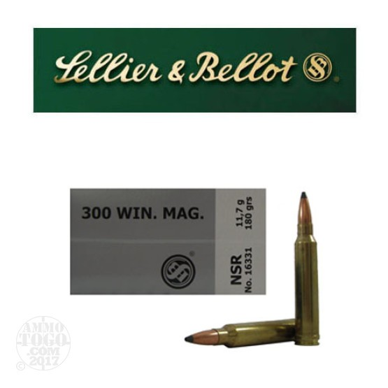 20rds - 300 Win Mag Sellier and Bellot 180gr. Nosler Partition SP Ammo