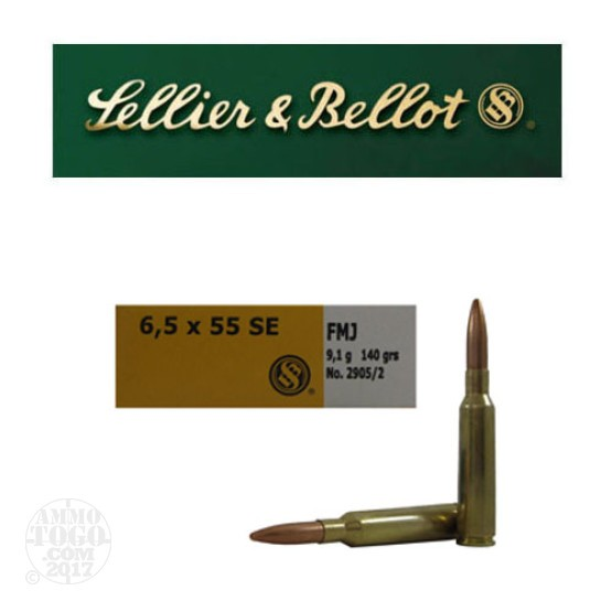 20rds - 6.5x55 Swedish Sellier and Bellot 140gr. FMJ Ammo