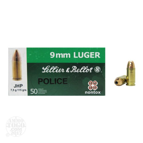 50rds - 9mm Sellier & Bellot Police 115gr. NonTox JHP Ammo