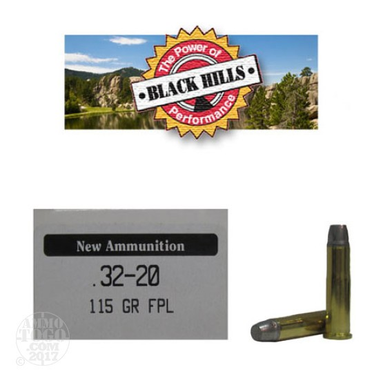 50rds - 32-20 Black Hills 115gr. New Seconds Flat Point Lead Ammo