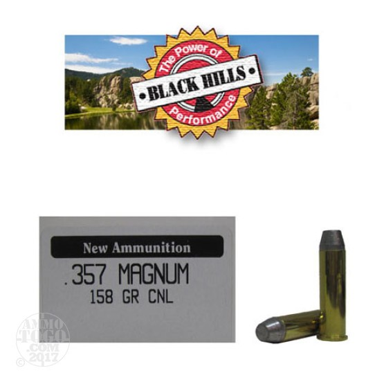 50rds - 357 Mag Black Hills 158gr. New Seconds CNL Ammo