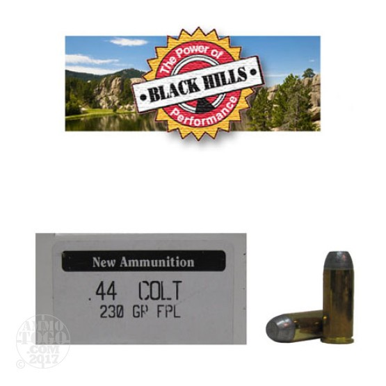50rds - 44 Long Colt Black Hills 230gr. New Seconds FPL Ammo