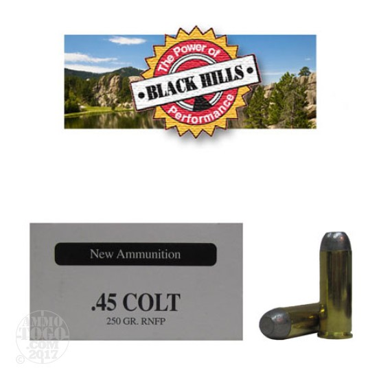 50rds - 45 Long Colt Black Hills 250gr. New Seconds RNFP Ammo