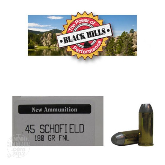 50rds - 45 Schofield Black Hills 180gr. New Seconds Flat Nose Lead Ammo