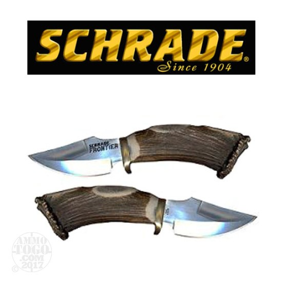 "1 - Schrade Frontier Fixed 3.5"" Blade With Stag Handle"