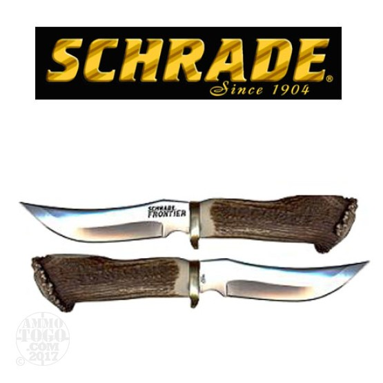 "1 - Schrade Frontier Fixed 5"" Blade With Stag Handle"