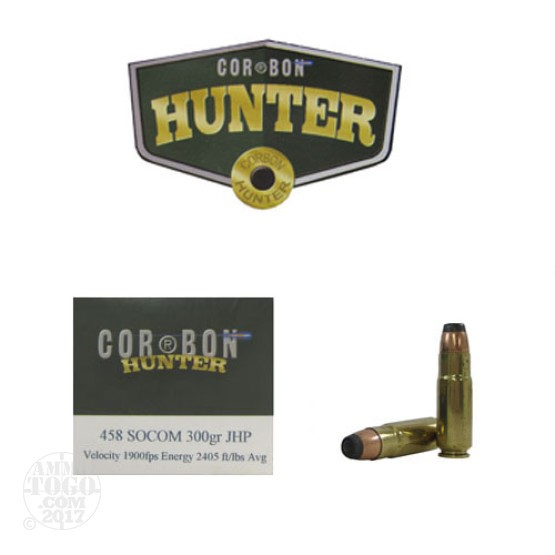 20rds - 458 SOCOM Corbon 300gr. Jacketed Hollow Point Ammo
