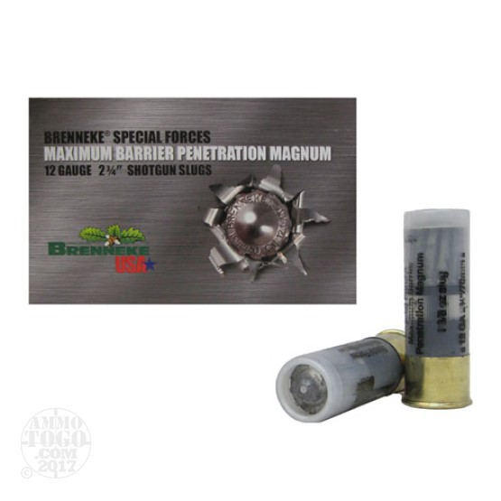 "25rds - 12 Ga. Brenneke Maximum Barrier Penetration 2 3/4"" 1 3/8oz. Slug Ammo"