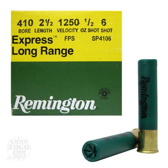 "25rds - .410 Gauge Remington Express 2 1/2"" Max Dram 1/2oz. #6 Shot"