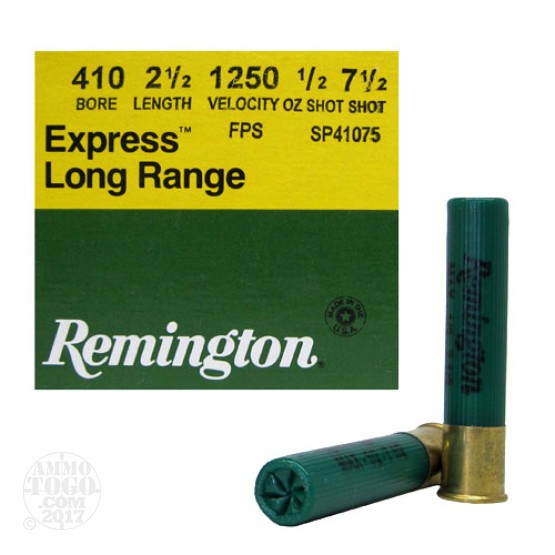 "25rds - .410 Gauge  Remington Express 2 1/2"" Max Dram 1/2oz. #7 1/2 Shot Ammo"
