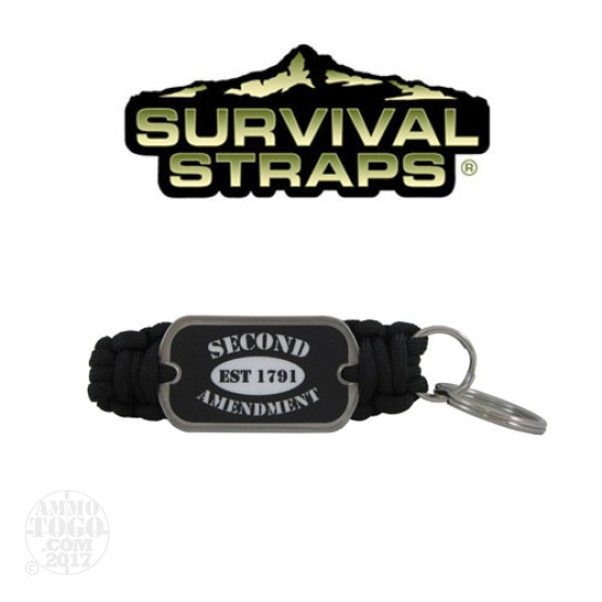 1 - Survival Straps Paracord Key Fob w/ 2nd Amendment Est. 1791 Logo Black