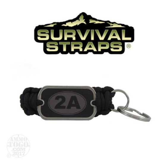 1 - Survival Straps Paracord Key Fob w/ 2A Logo Black