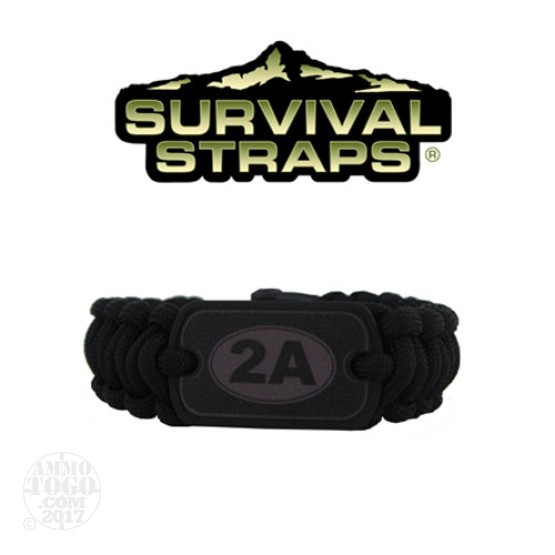 1 - Survival Straps Medium Paracord Survival Bracelet w/ 2A Logo Black