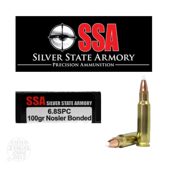 20rds - 6.8 SPC Silver State Armory 100gr. Nosler Accubond Ballistic Tip Ammo