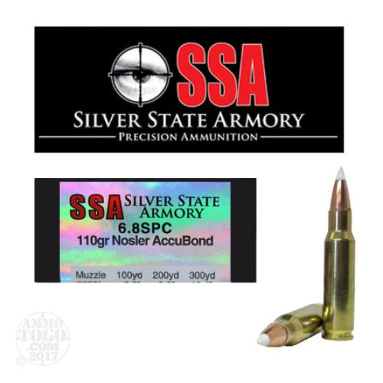 200rds - 6.8 SPC Silver State Armory 110gr. Nosler Accubond Ballistic Tip Ammo