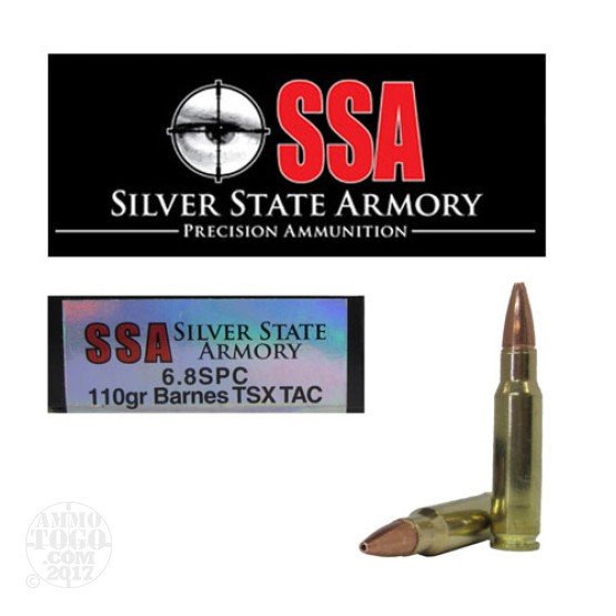 200rds - 6.8 SPC Silver State Armory 110gr. Barnes TSX TACTICAL Load Ammo
