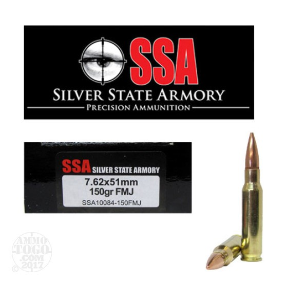 200rds - 7.62 x 51mm Silver State Armory 150gr. FMJ Ammo