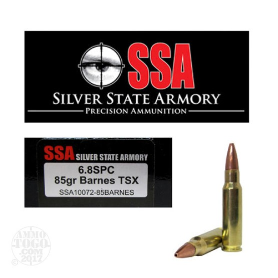 200rds - 6.8 SPC Silver State Armory 85gr. Barnes TSX Ammo