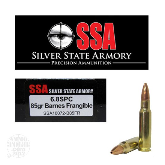 20rds - 6.8 SPC Silver State Armory 85gr. Barnes Lead Free Frangible Ammo