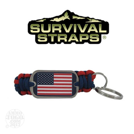 1 - Survival Straps Paracord Key Fob w/ American Flag Logo Red and Blue