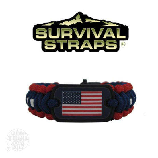 1 - Survival Straps Large Paracord Survival Bracelet w/ American Flag Logo Red, White and Blue