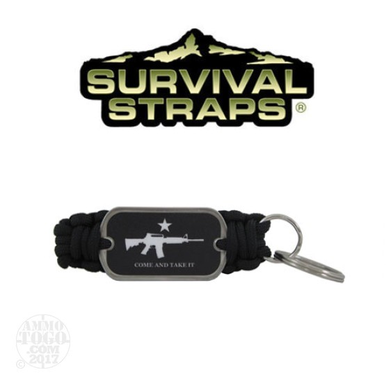 1 - Survival Straps Paracord Key Fob w/ Come and Take It Logo Black