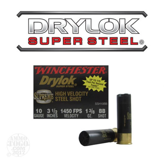 "25rds - 10 Gauge Winchester Drylok Super Steel HV 3 1/2"" 1 3/8oz. BB Shot Ammo"