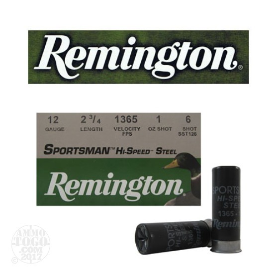 "250rds - 12 Gauge Remington Sportsman Hi-Speed Steel 2 3/4"" 1oz. #6 Shot Ammo"
