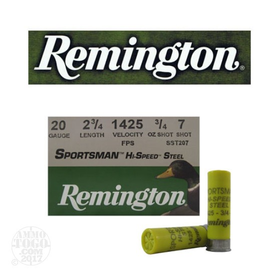 "250rds - 20 Gauge Remington 2 3/4"" 3/4oz. #7 Shot Ammo"