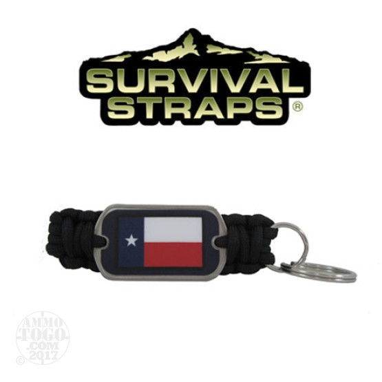 1 - Survival Straps Paracord Key Fob w/ Texas Flag Logo Black