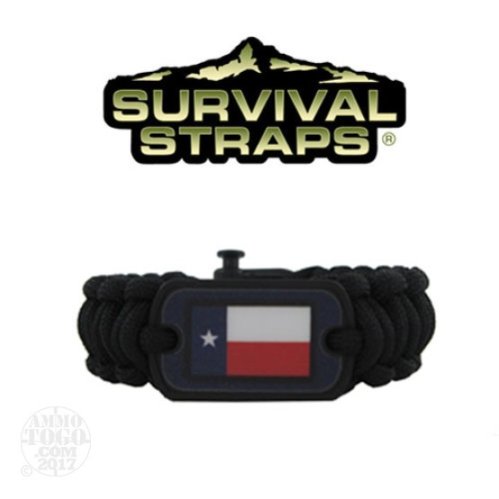 1 - Survival Straps Large Paracord Survival Bracelet w/ Texas Flag Logo Black and Blue