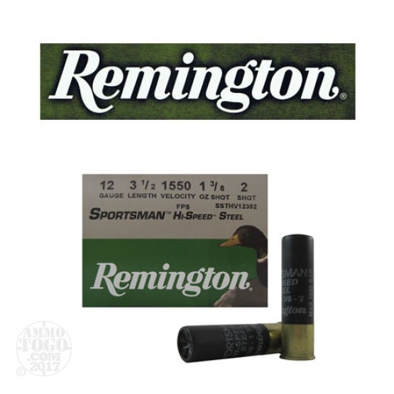 "250rds - 12 Gauge Remington Sportsman Hi-Speed Steel 3 1/2"" 1 3/8oz. #2 Shot Ammo"