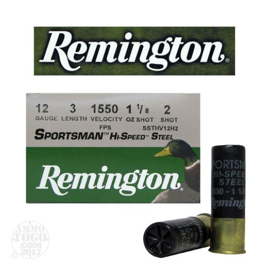 "25rds - 12 Ga. Remington Sportsman Hi-Speed Steel 3"" 1 1/8oz #2 Shot Ammo"