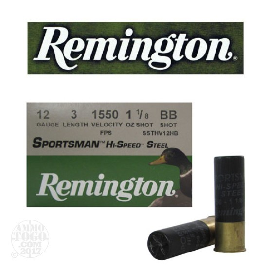 "250rds - 12 Gauge Remington Sportsman Hi-Speed Steel 3"" 1 1/8oz. #BB Shot Ammo"