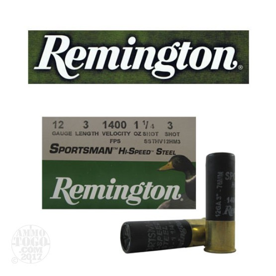 "250rds - 12 Gauge Remington Sportsman Hi-Speed Steel 3"" 1 1/4oz. #3 Shot Ammo"