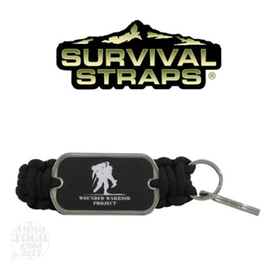 1 - Survival Straps Paracord Key Fob w/ Wounded Warrior Project Logo Black