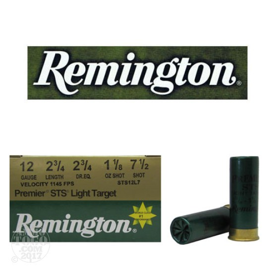 "25rds - 12 Gauge Remington Premier STS Light Target 2 3/4"" 1 1/8oz. #7 1/2 Shot"