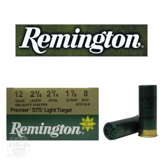 "25rds - 12 Gauge Remington Premier STS Light Target 2 3/4"" 1 1/8oz. #8 Shot"