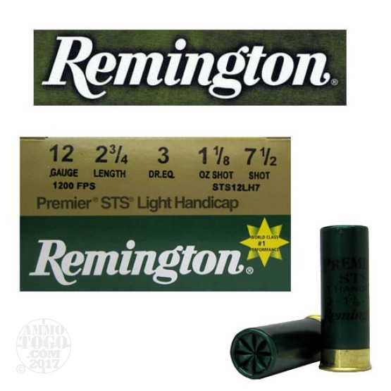 "250rds - 12 Gauge Remington Premier STS Light Handicap 2 3/4""  1 1/8oz. #7 1/2 Shot"