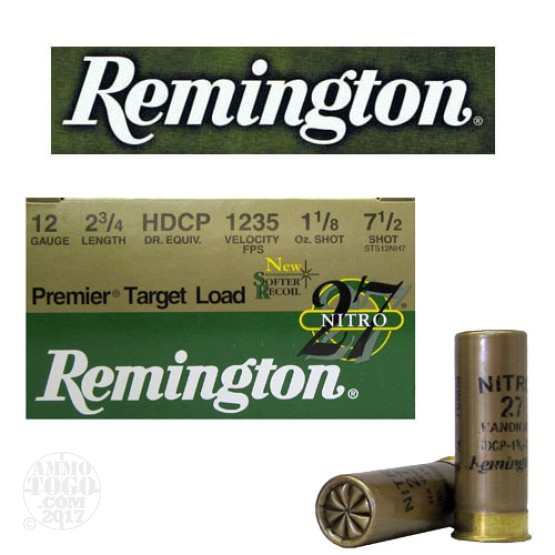 "25rds - 12 Gauge Remington Premier Handicap Target Load 2 3/4""  1 1/8oz. #7 1/2 Shot Ammo"