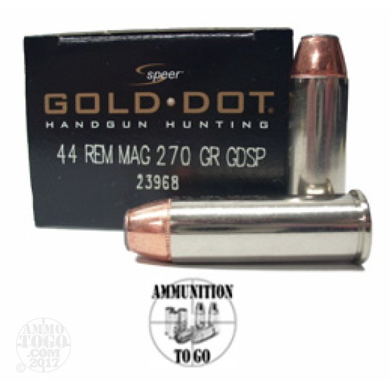 20rds - 44 Mag Speer Gold Dot 270gr. Bonded Soft Point Ammo