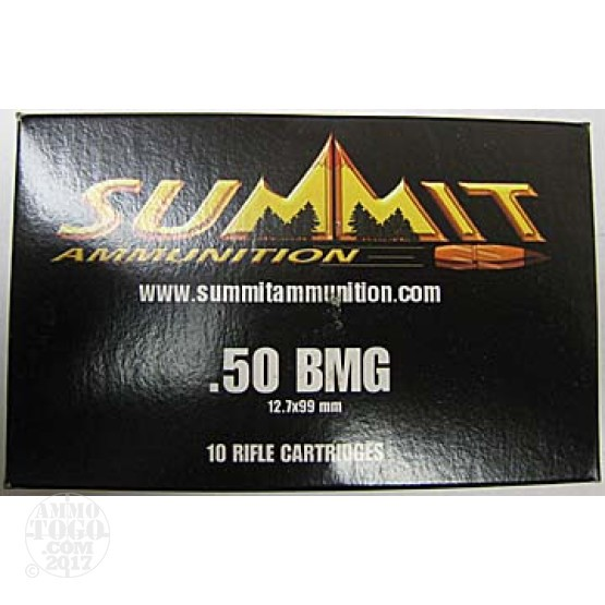 10rds - 50 Cal. BMG Summit Ammunition 750gr. A-MAX Match Ammo