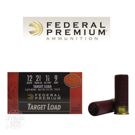 "250rds - 12 Gauge Federal Gold Medal Target Load 2 3/4"" 1 1/8oz. #9 Shot"