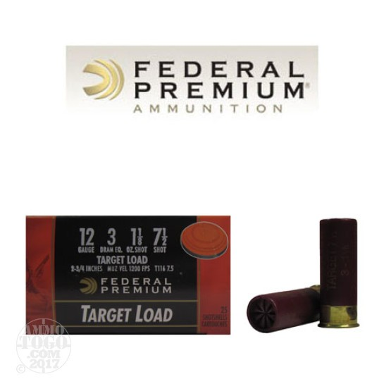 "250rds - 12 Gauge Federal Gold Medal Target Load 2 3/4"" 1 1/8oz. Max #7 1/2"